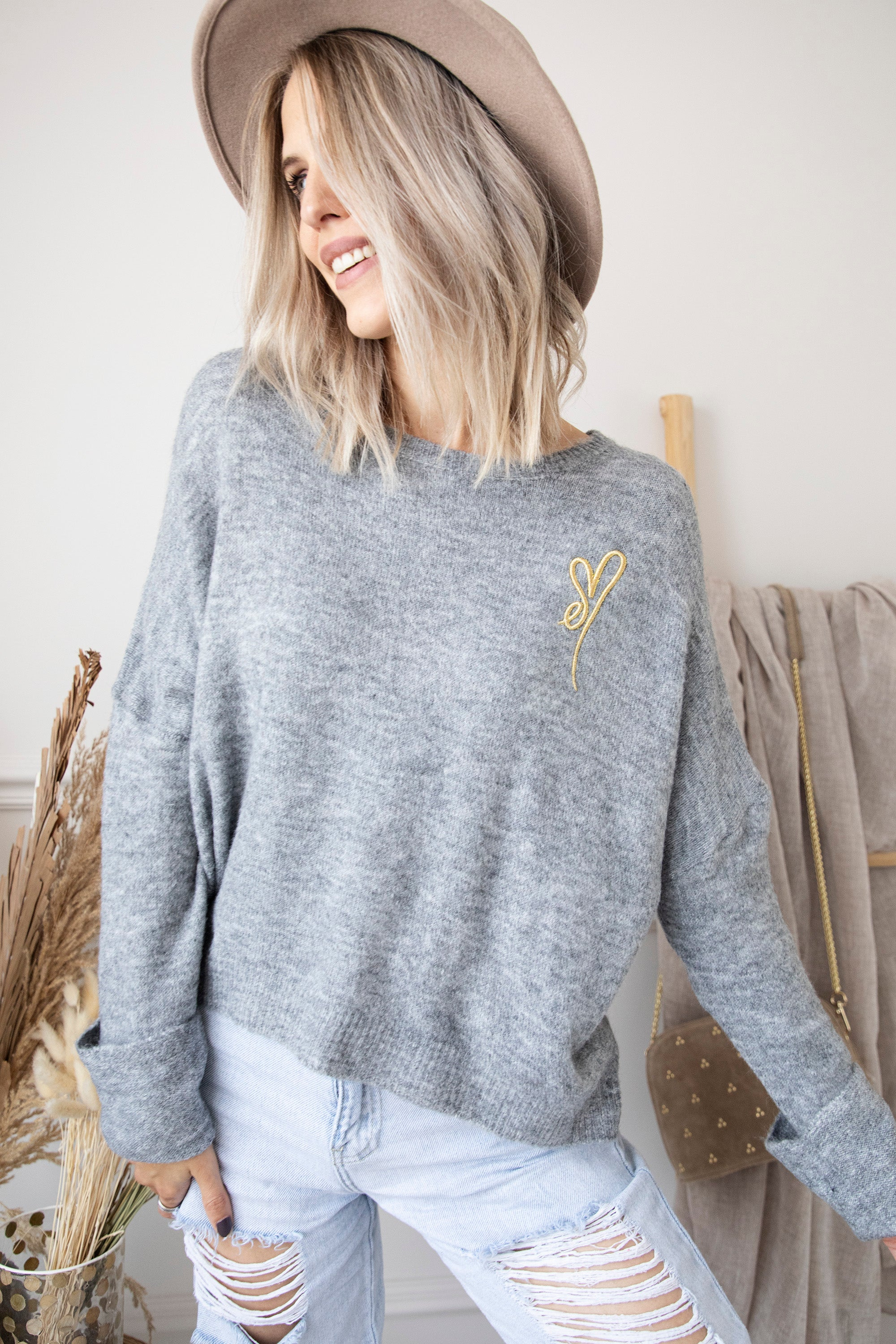 A Heart Of Gold Soft Grey - Trui
