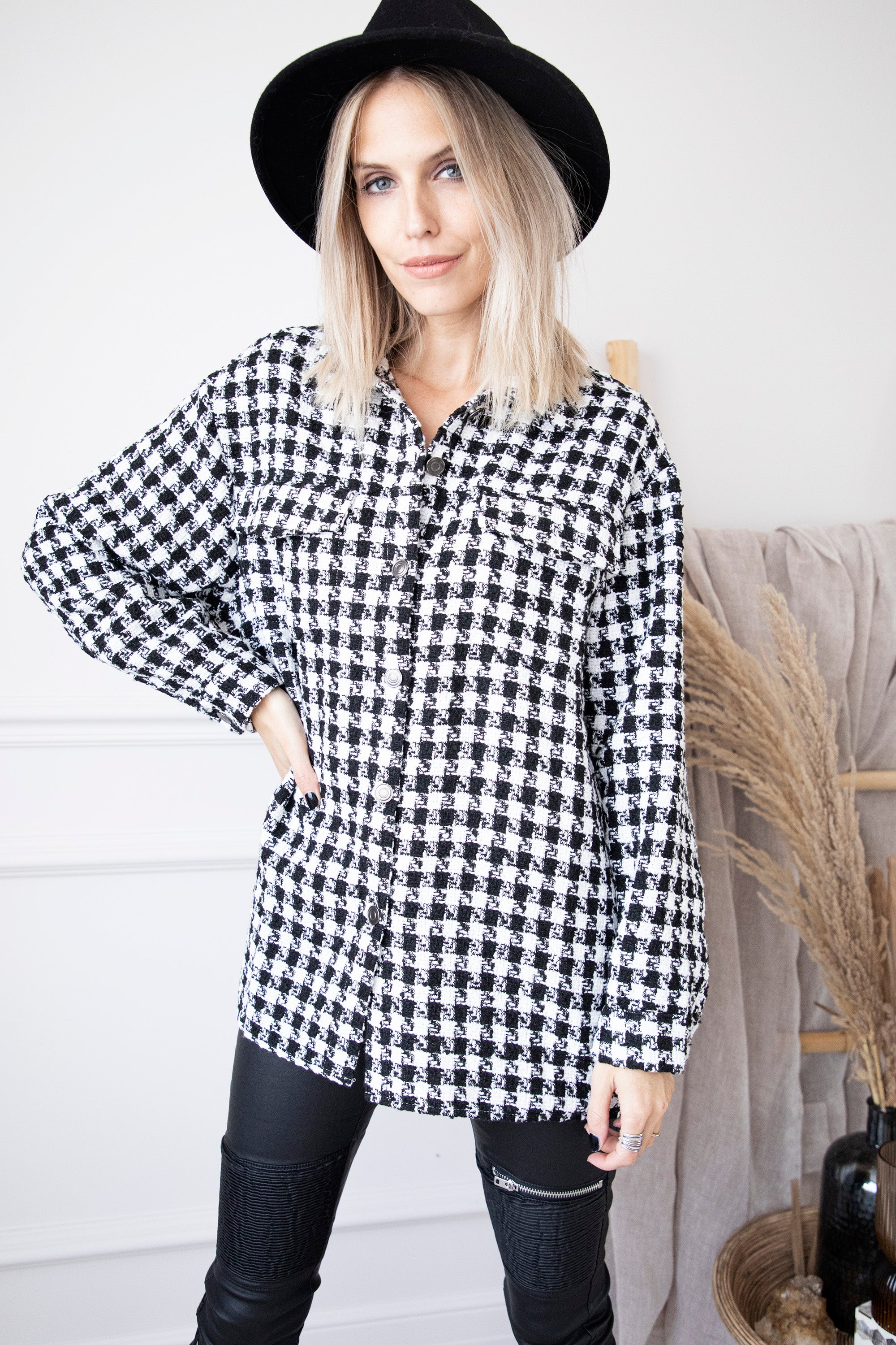Claudia Pied-De-Poule Black/White - Blouse