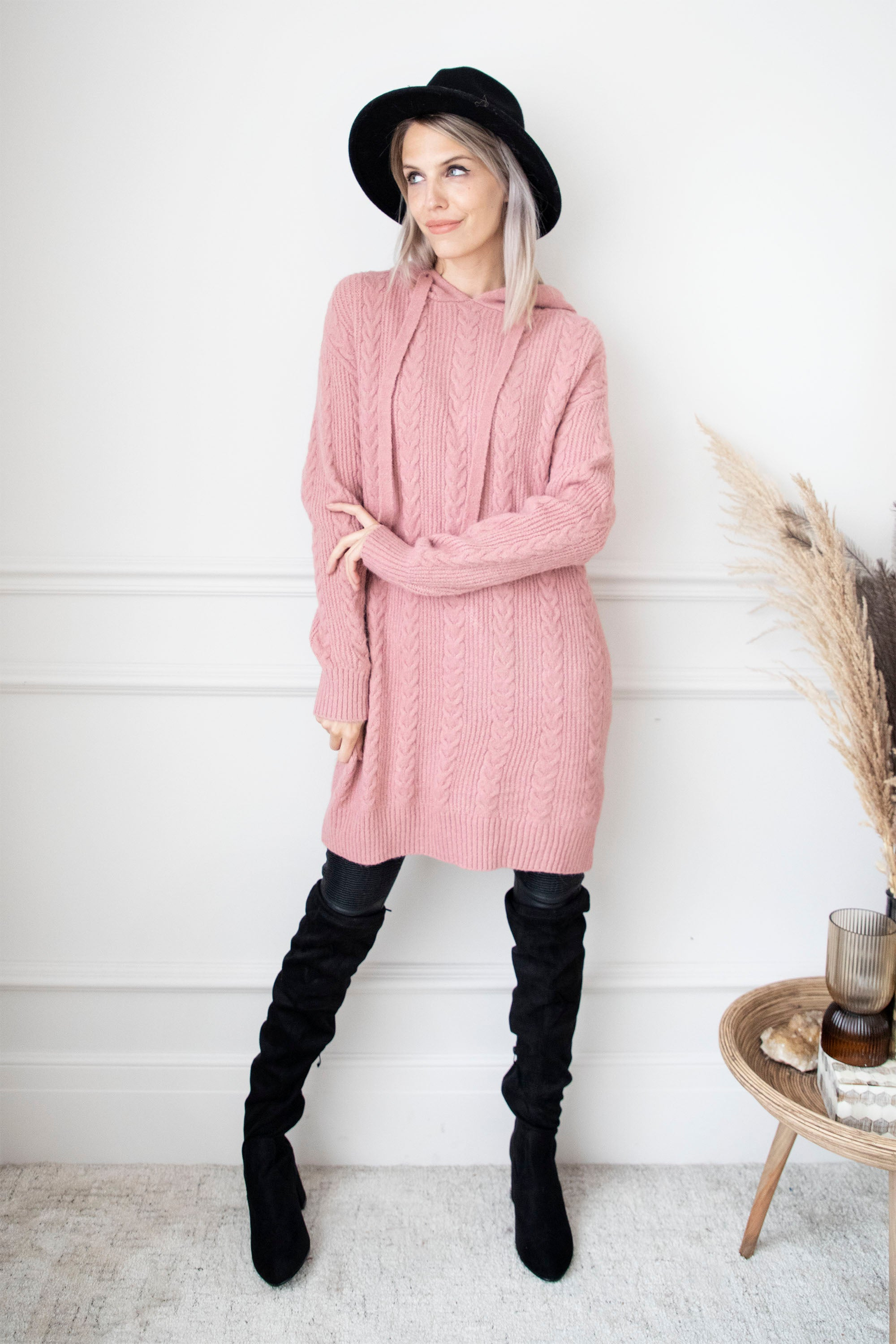 Knitted Hoodie Pink - Sweater Dress
