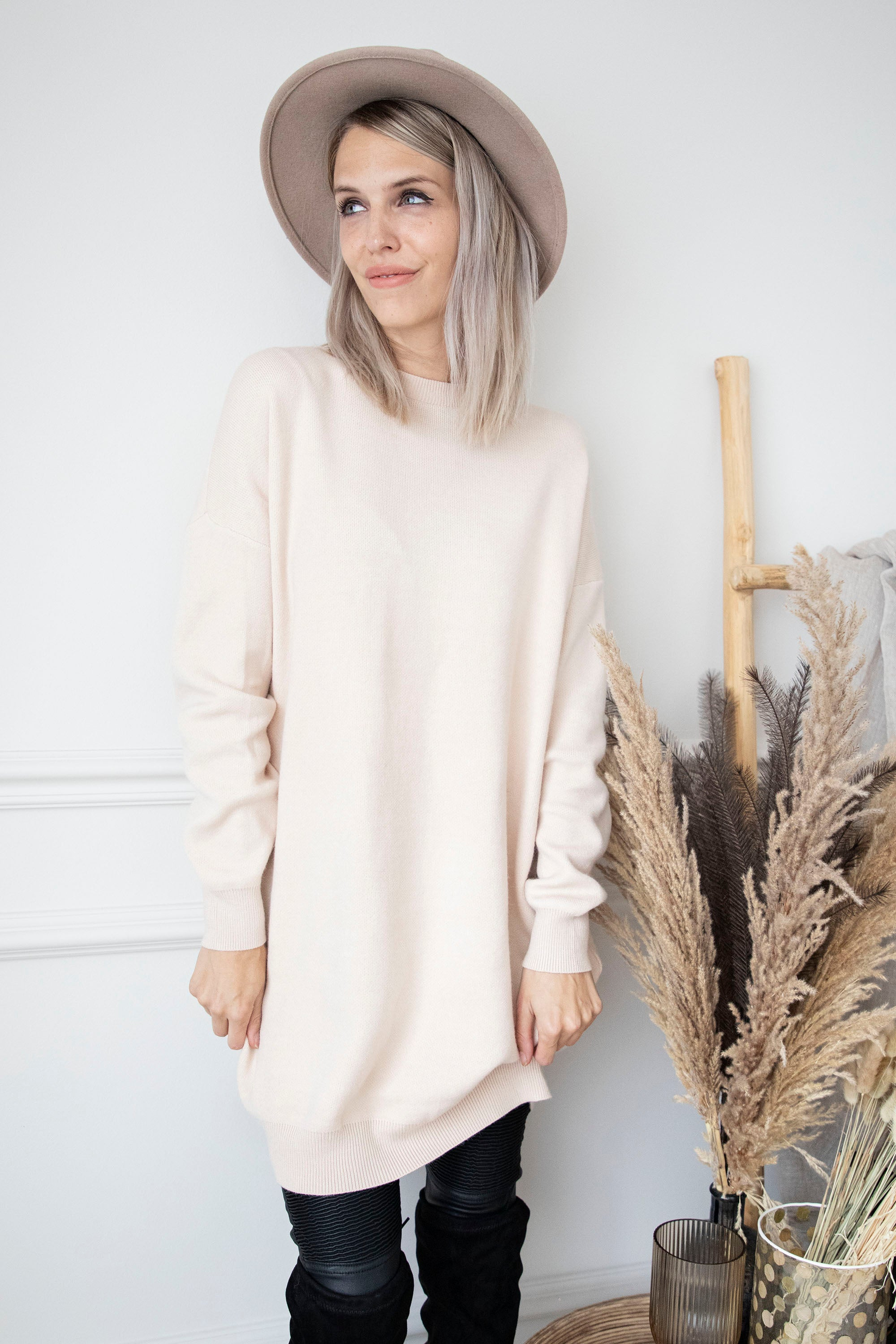 Bows Are Back Beige - Sweater Dress