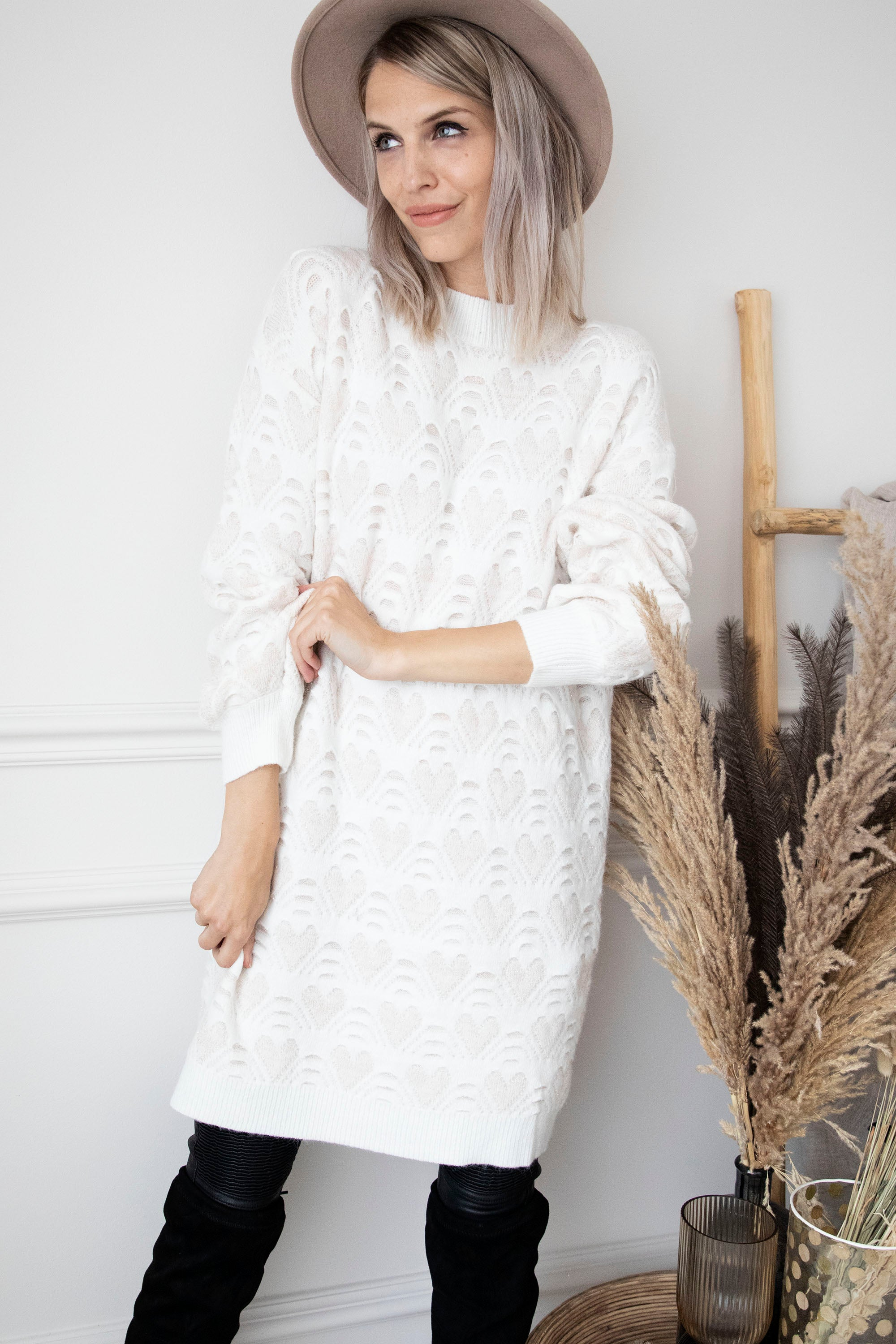 Openhearted Cream - Sweater Dress