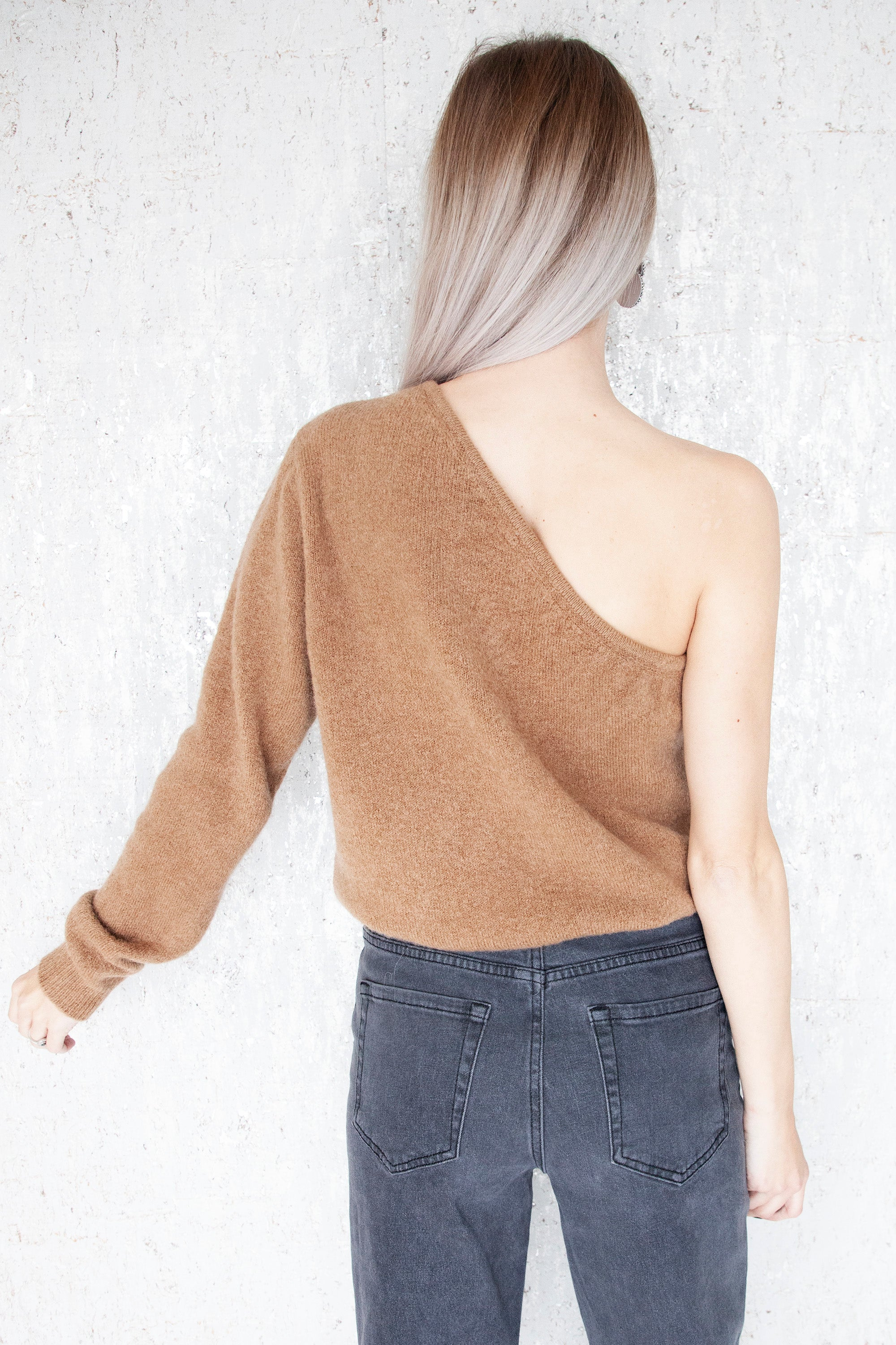 Off My Shoulder Camel - Sweater