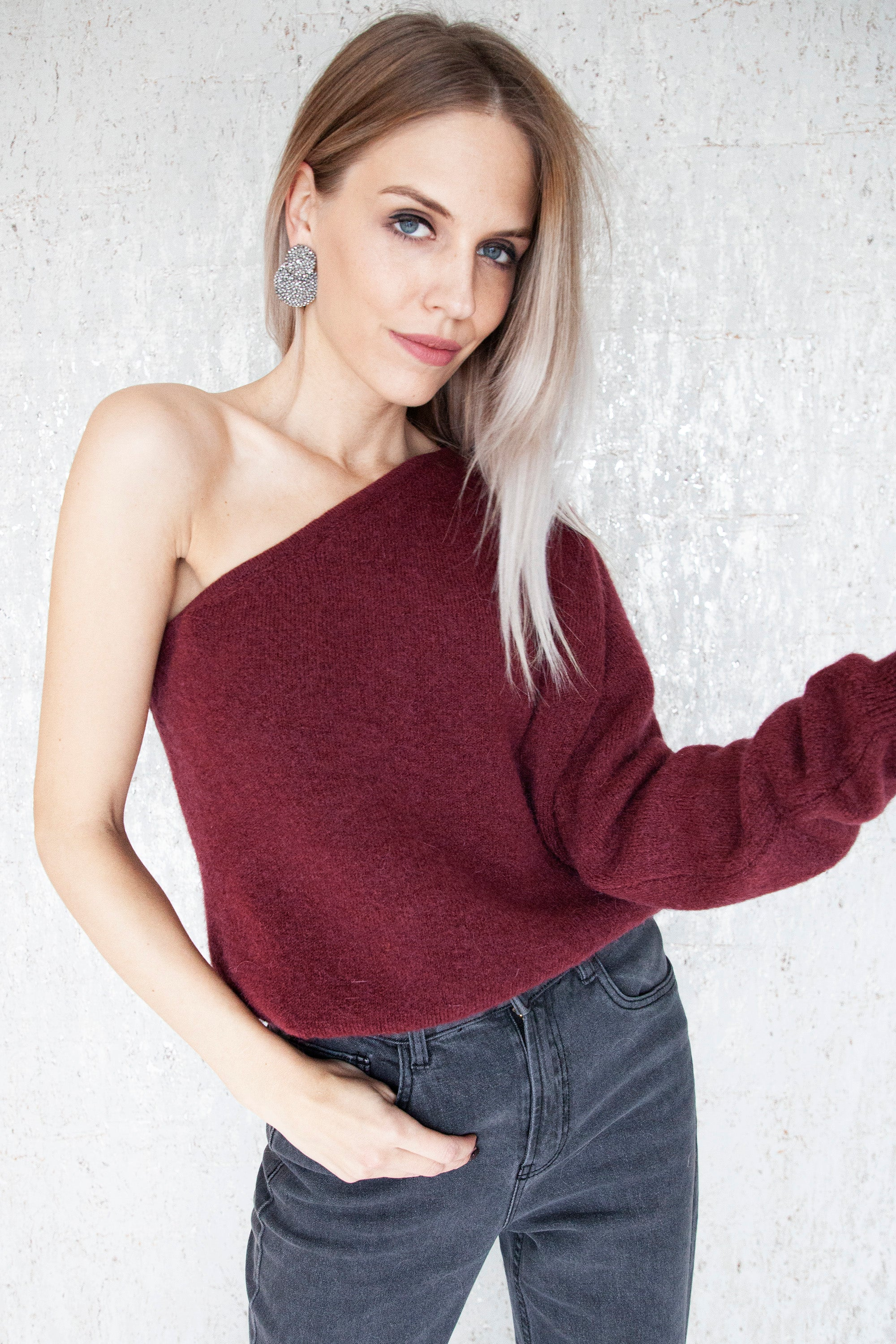 Off My Shoulder Oxblood - Sweater