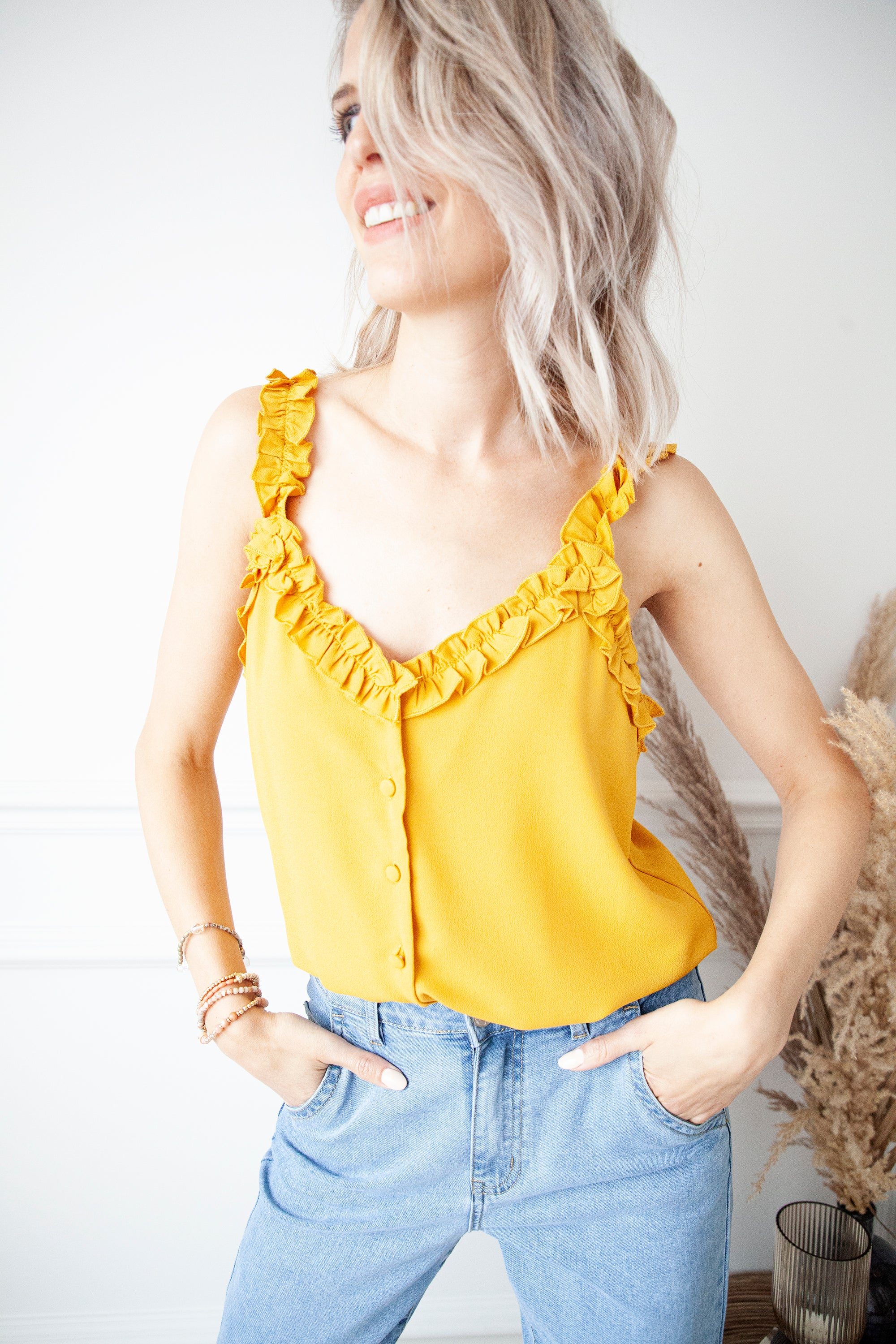 Ruffled Roxanne Yellow Ochre - Top