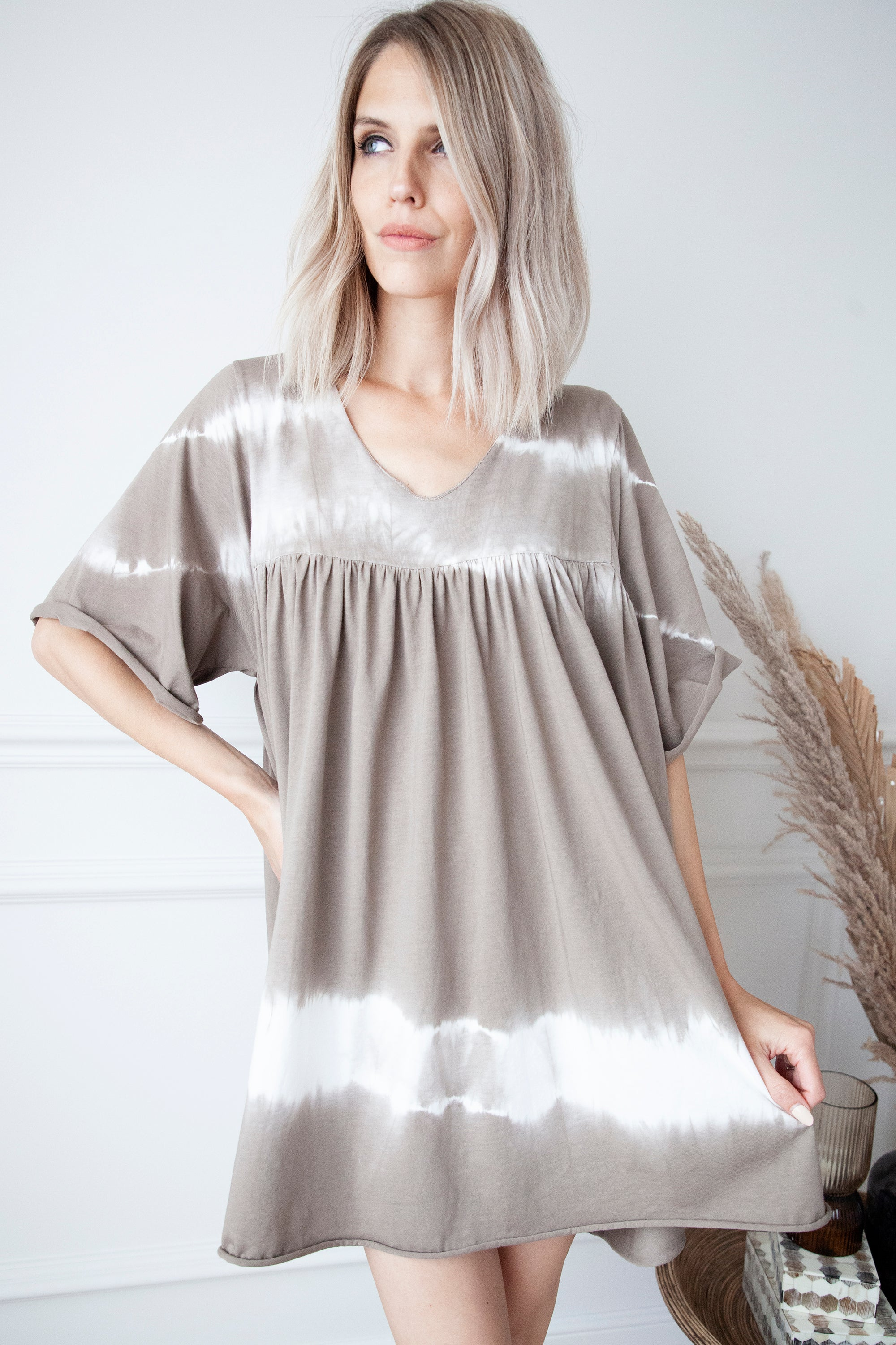 Flashlight Tie Dye Taupe - Jurk