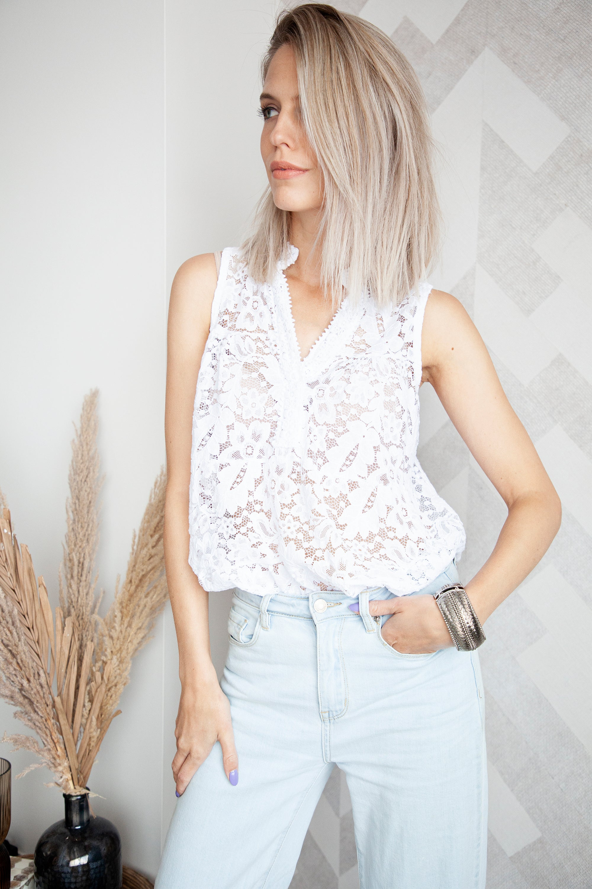 Lace For Summer Days White - Top