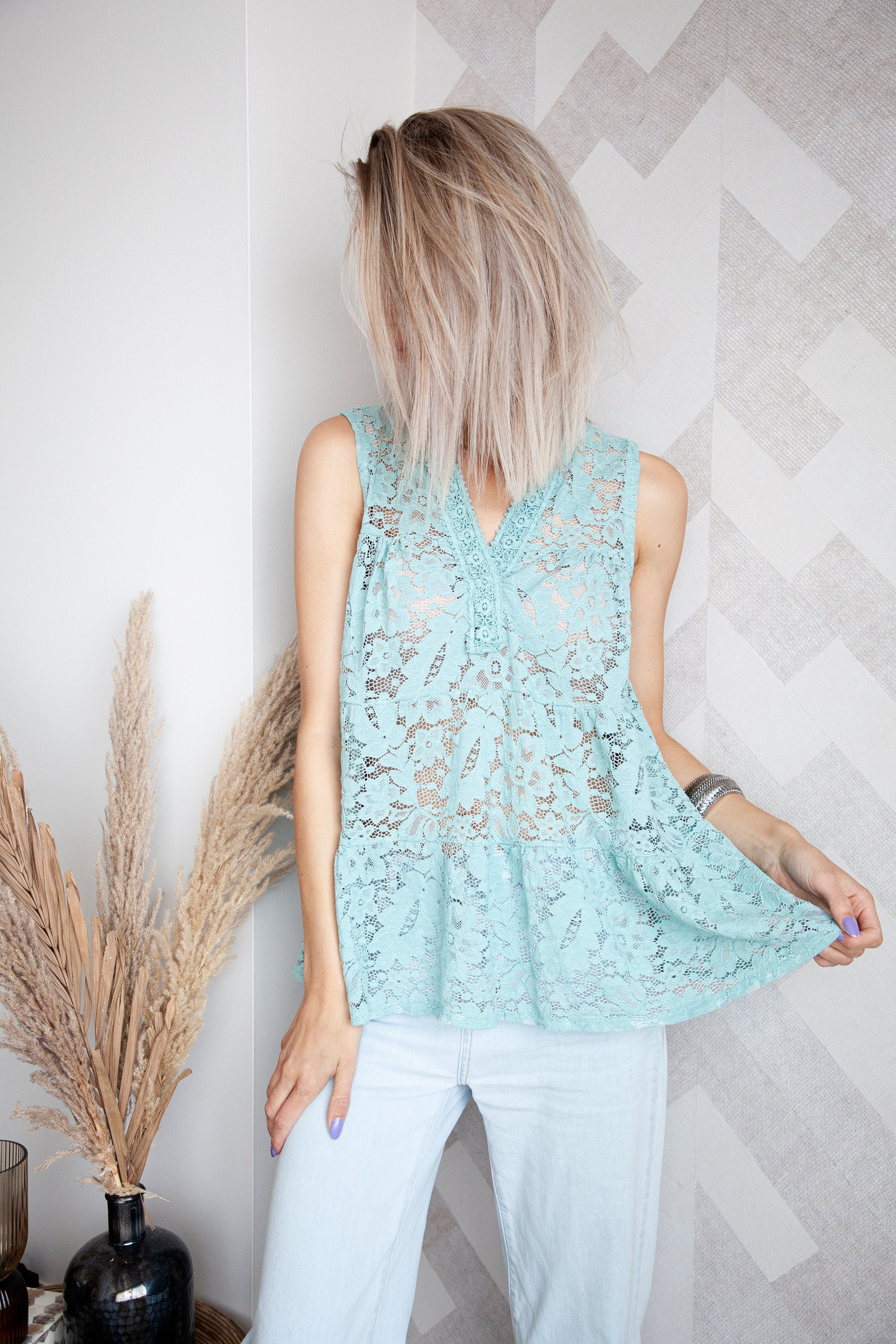 Lace For Summer Days Mint Green - Top