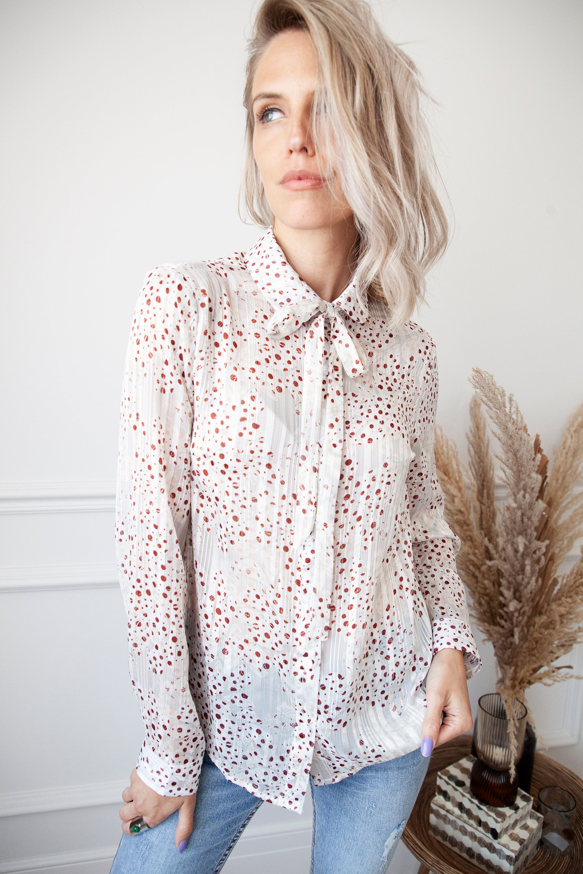 Dots Of Red Off White - Blouse