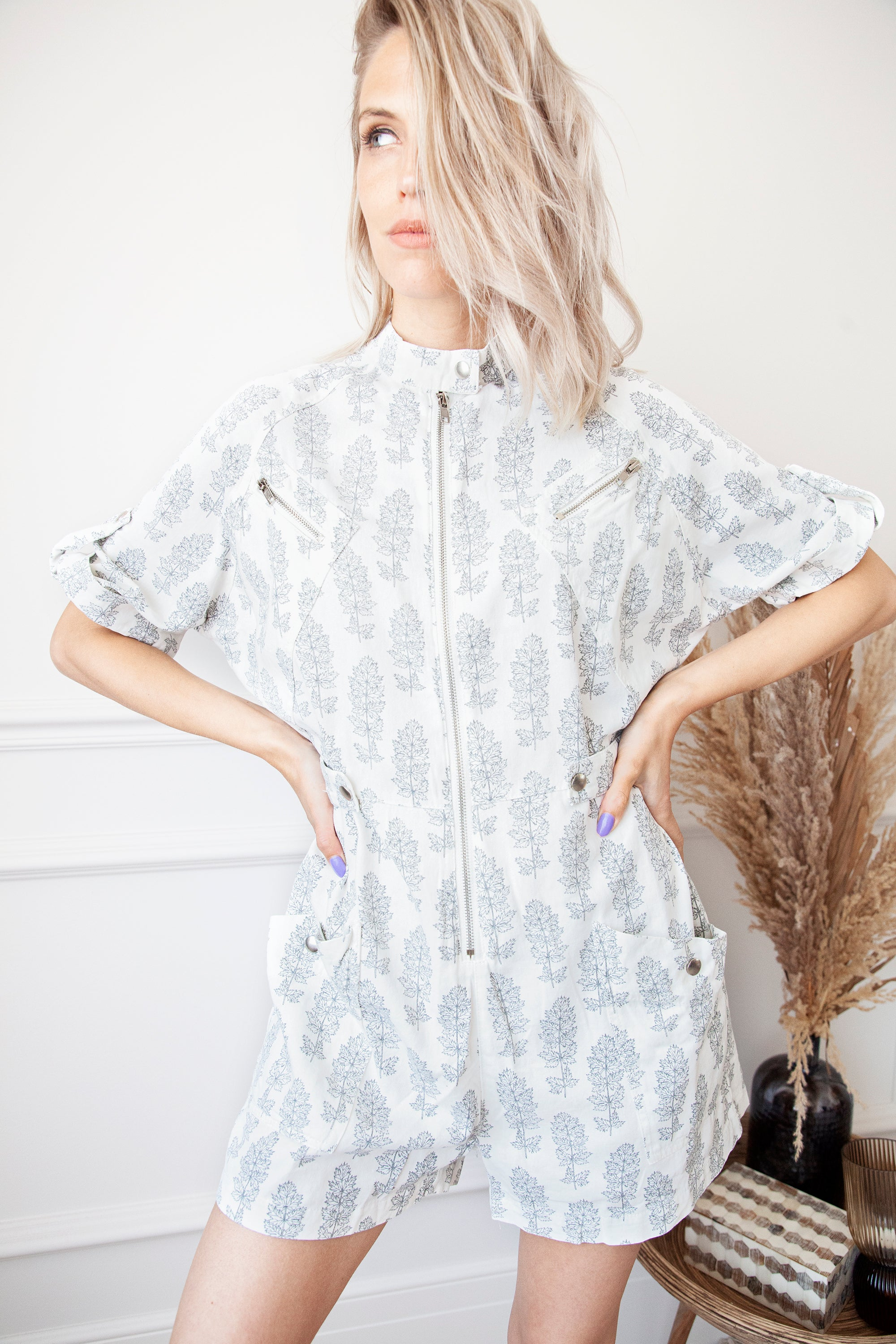 Play With Leaves White - Playsuit