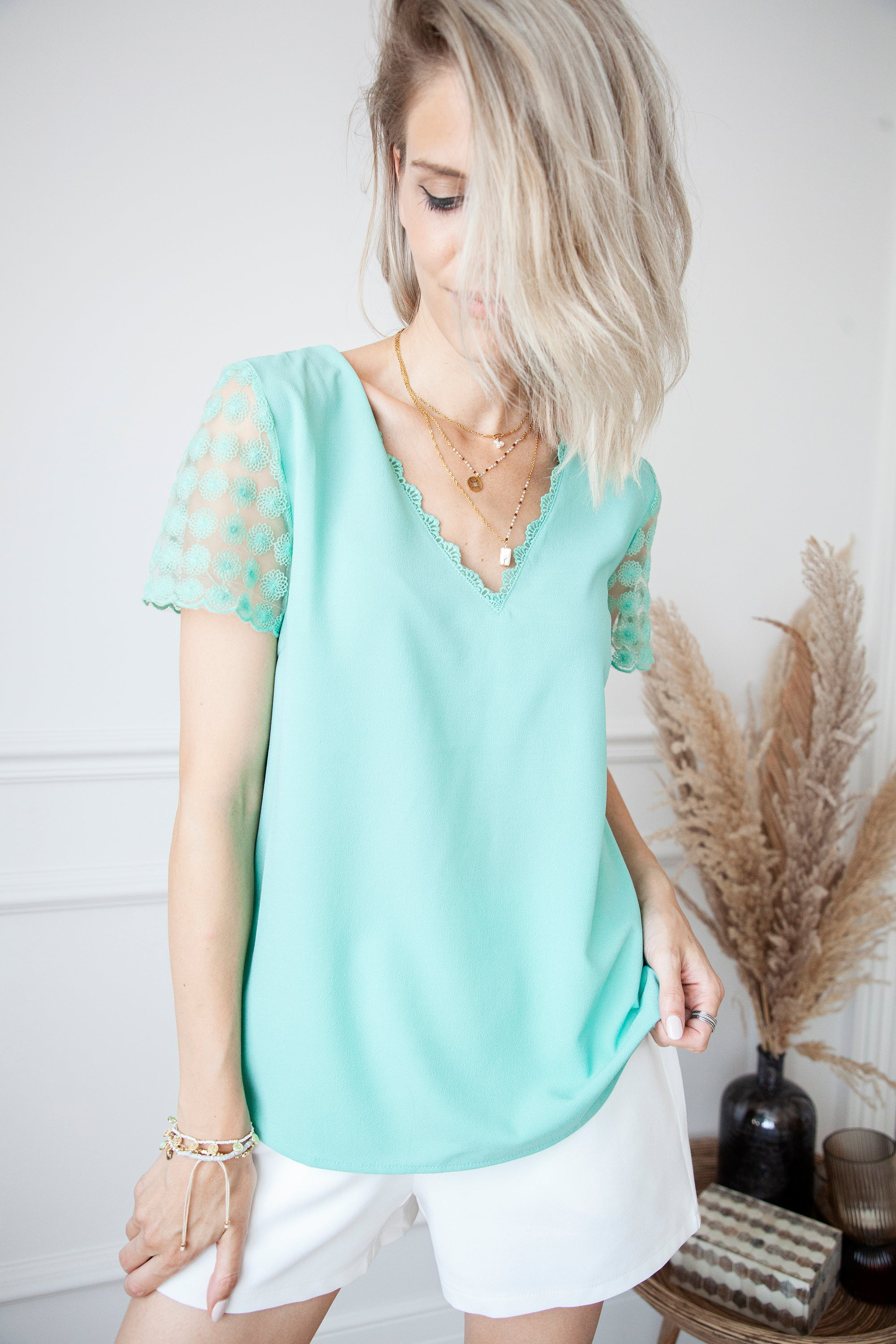 Dots Of Flowers Mint Green - Blouse