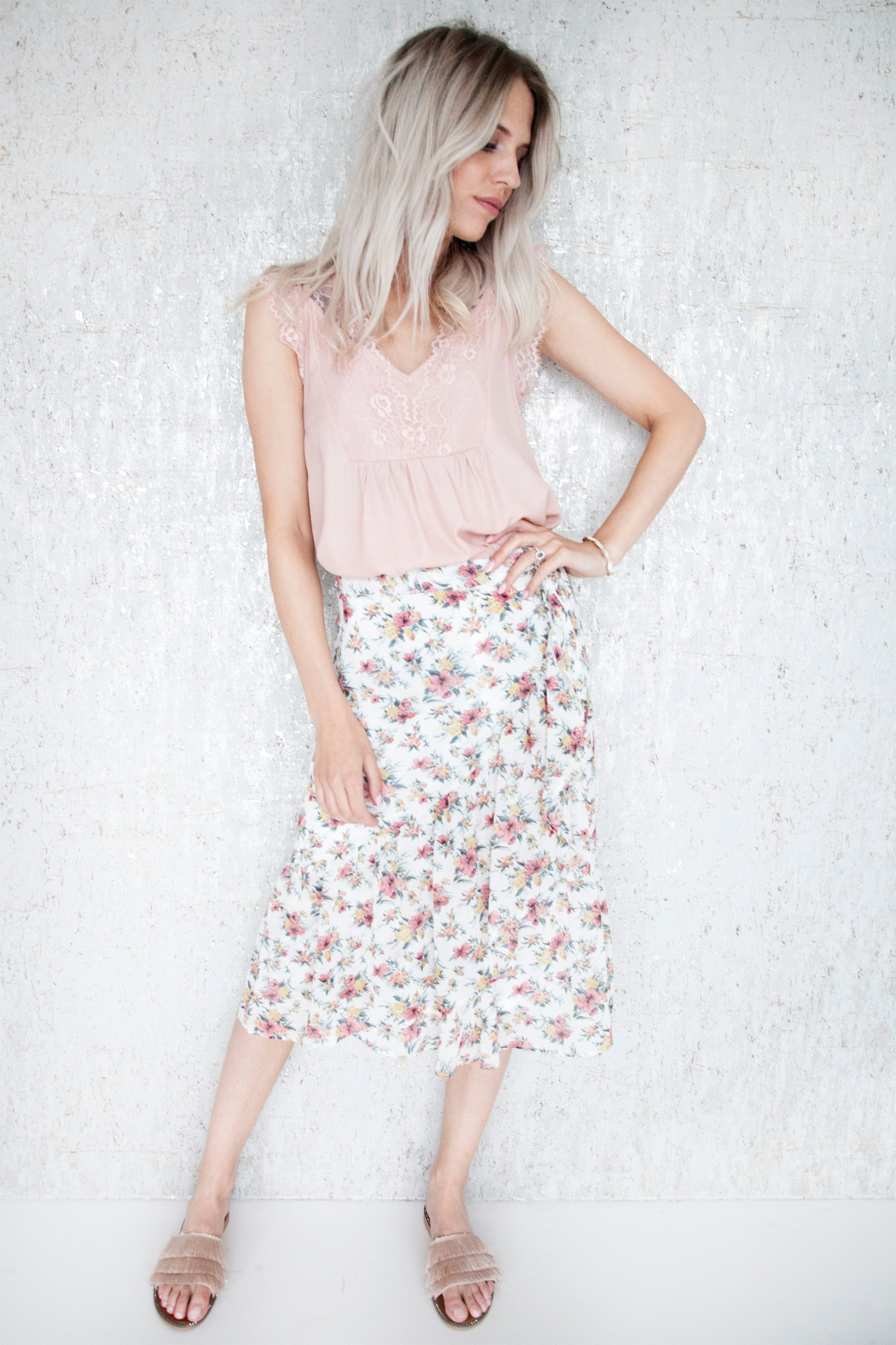 Lydia Flowered Cream - Rok