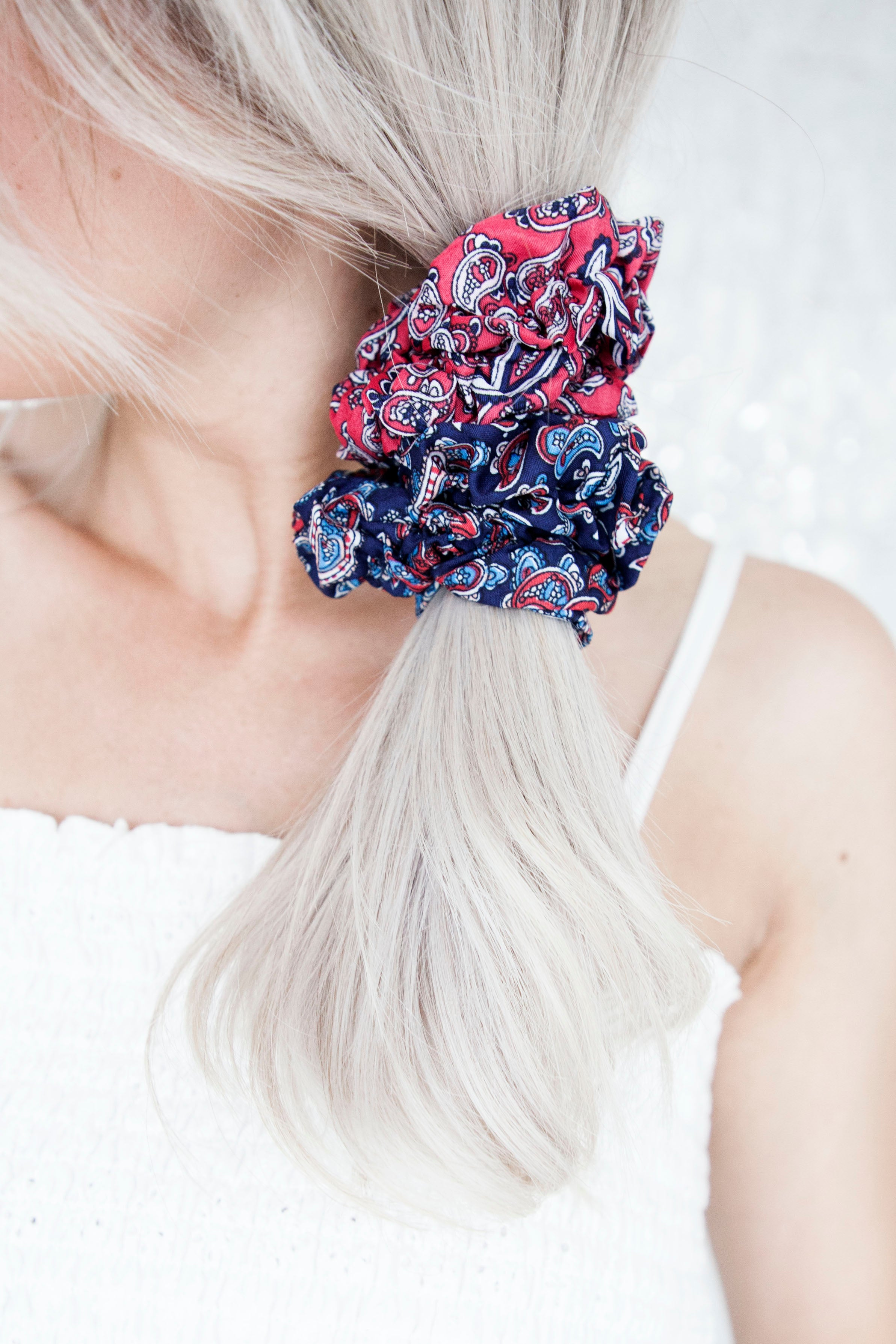 Whip That Hair Fuchsia & Dark Blue - Scrunchies Set/2