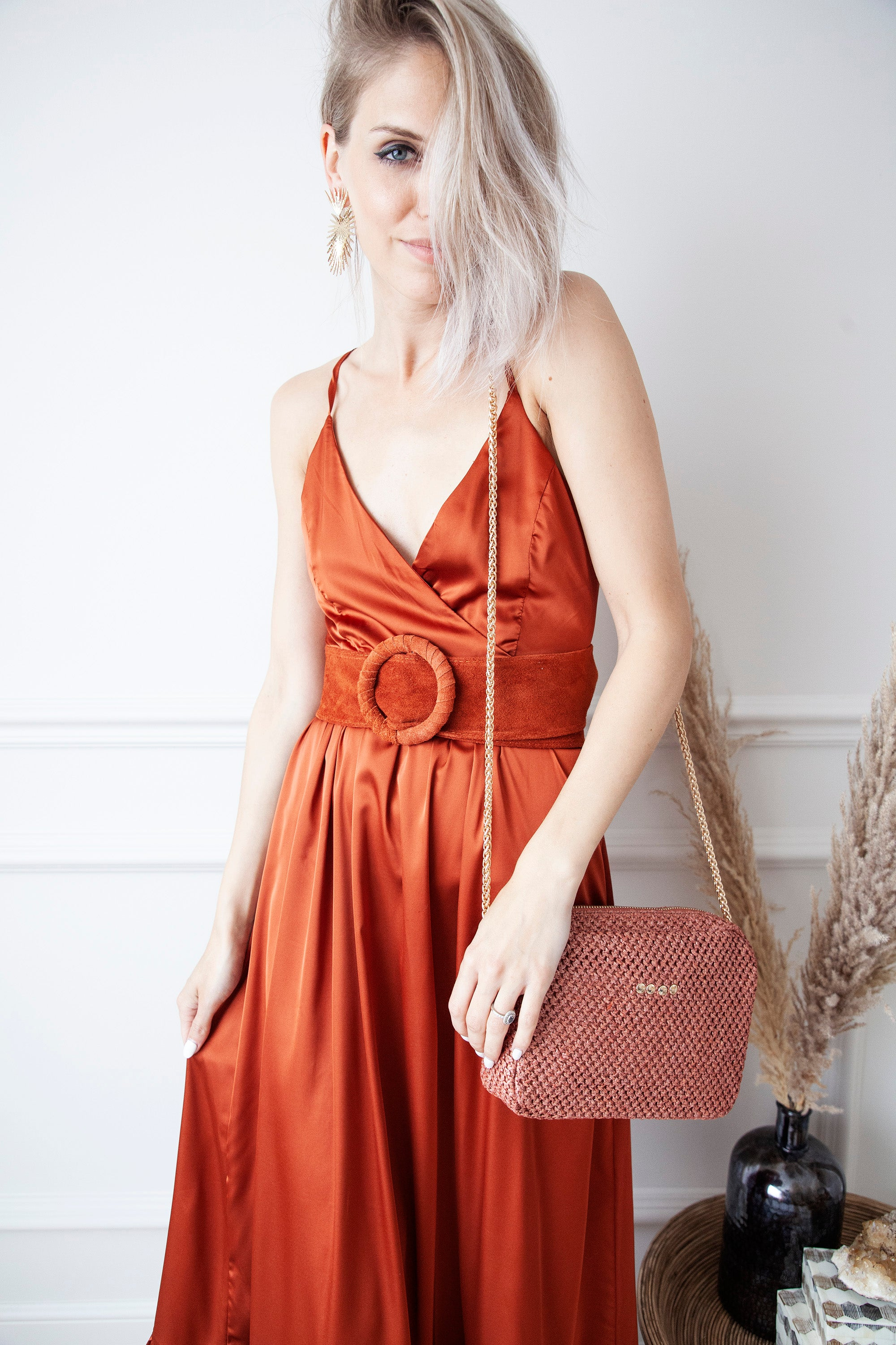 Satin Summer Rusty - Maxi Jurk