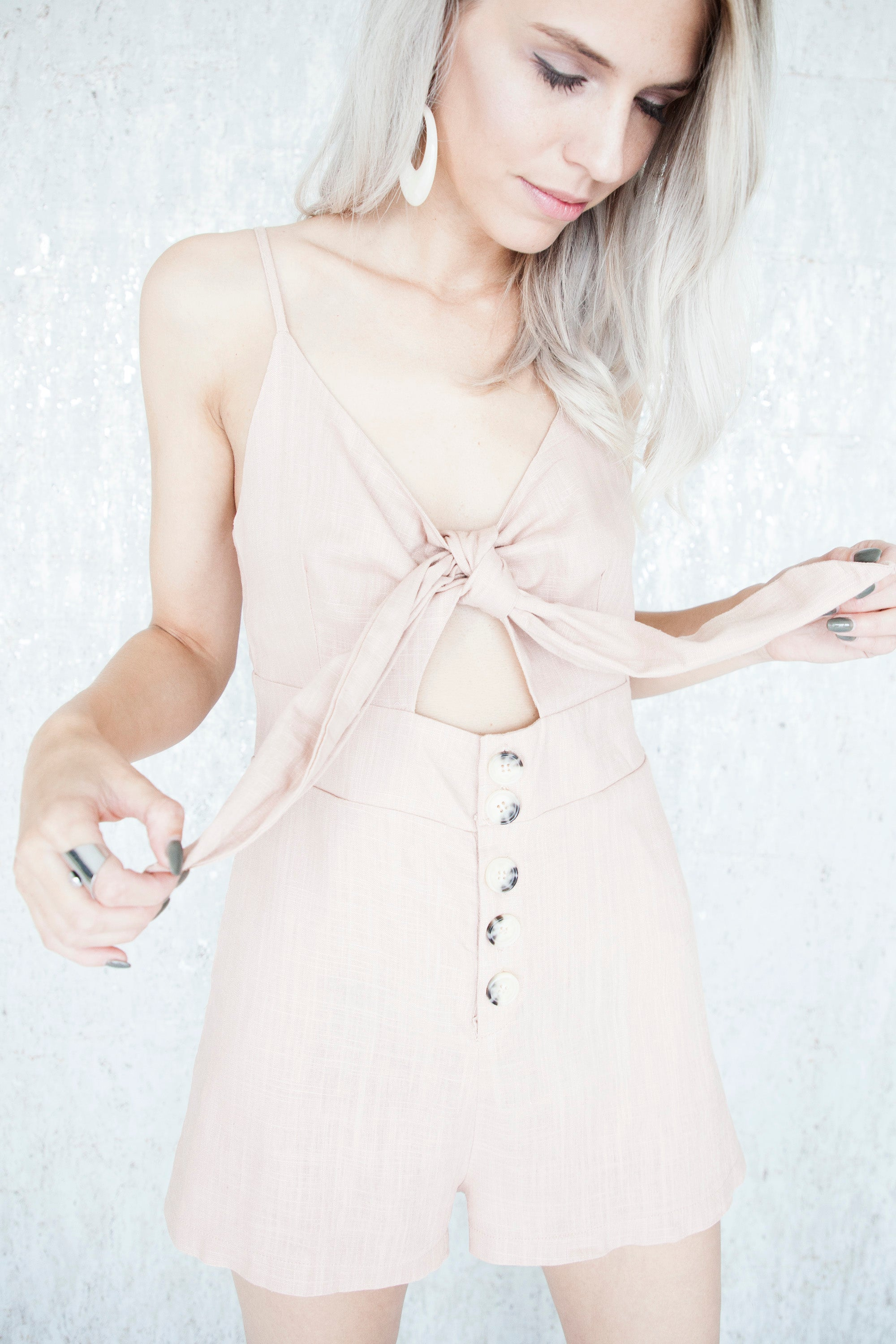 Glamorize Buttons Rose - Playsuit