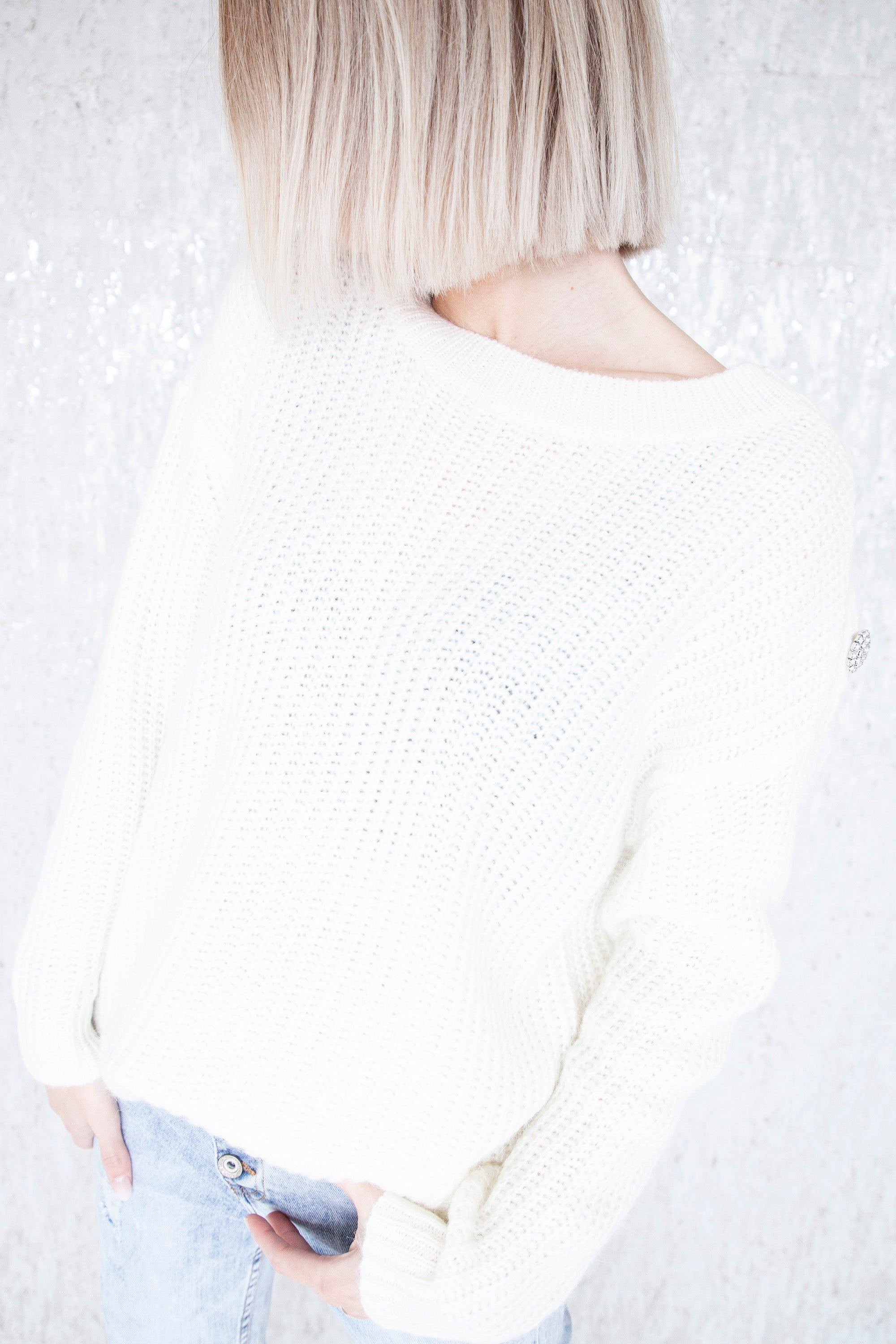 Knitted Diamond Shoulder Off White - Trui
