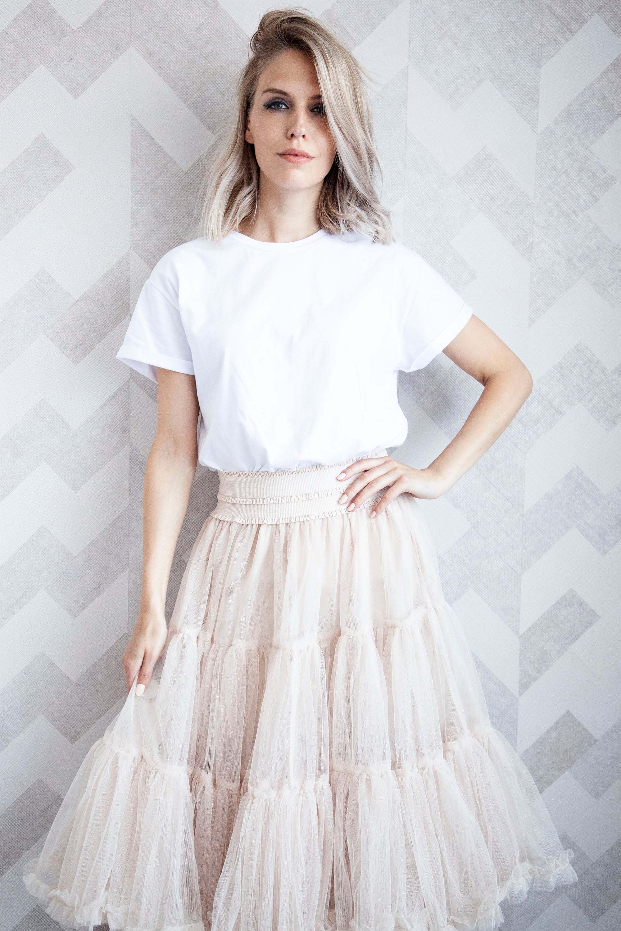 Follow Your Dreams Cream - Midi Rok