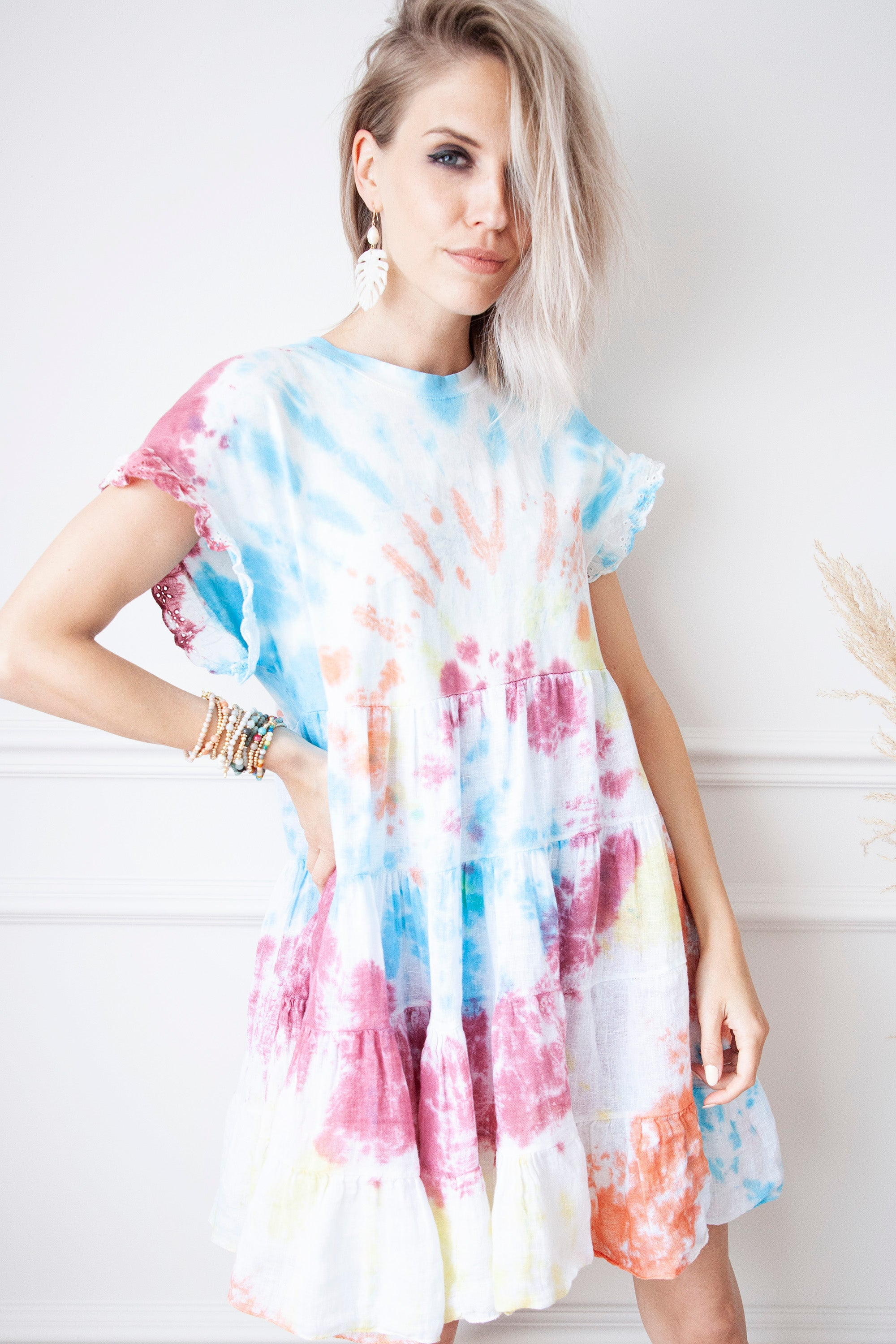 Colors Of Life Tie Dye Blue Mix - Jurk