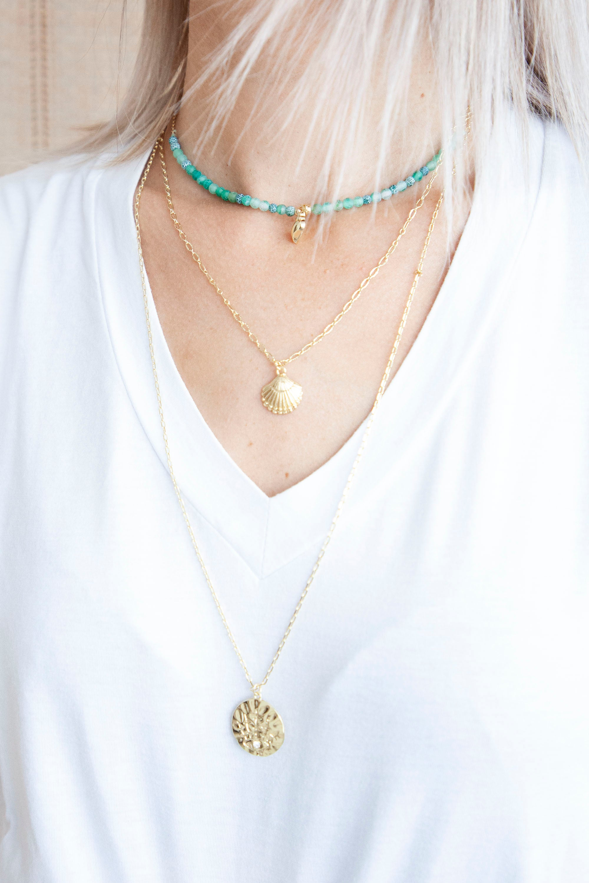 Shells Layered Green - Ketting