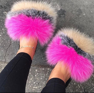 Pink Nudes Fur Slippers