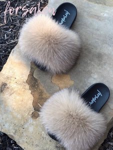 Peanut Butter Fur Slippers (On Hand)