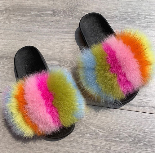 Tropical Fur Slippers