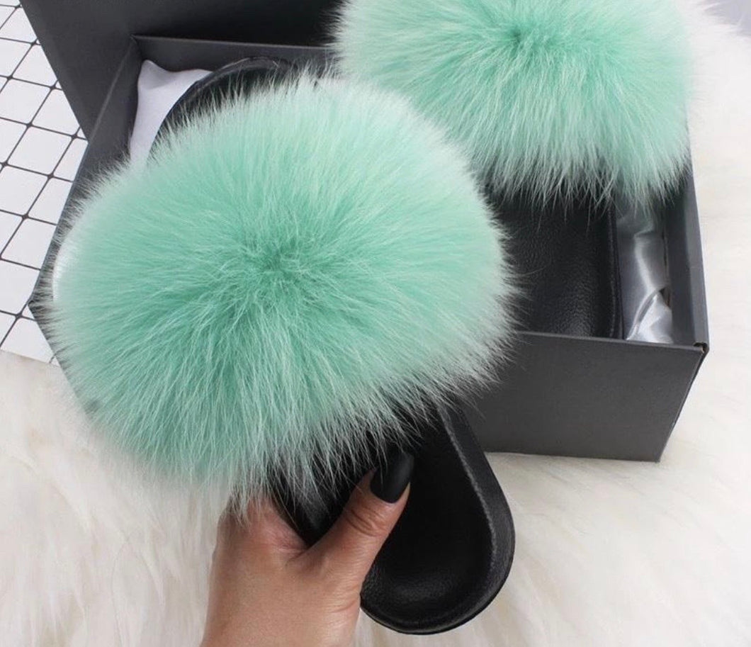 Mint Fur Slippers