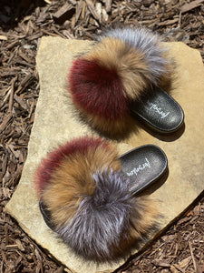 Maroon Fur Slippers
