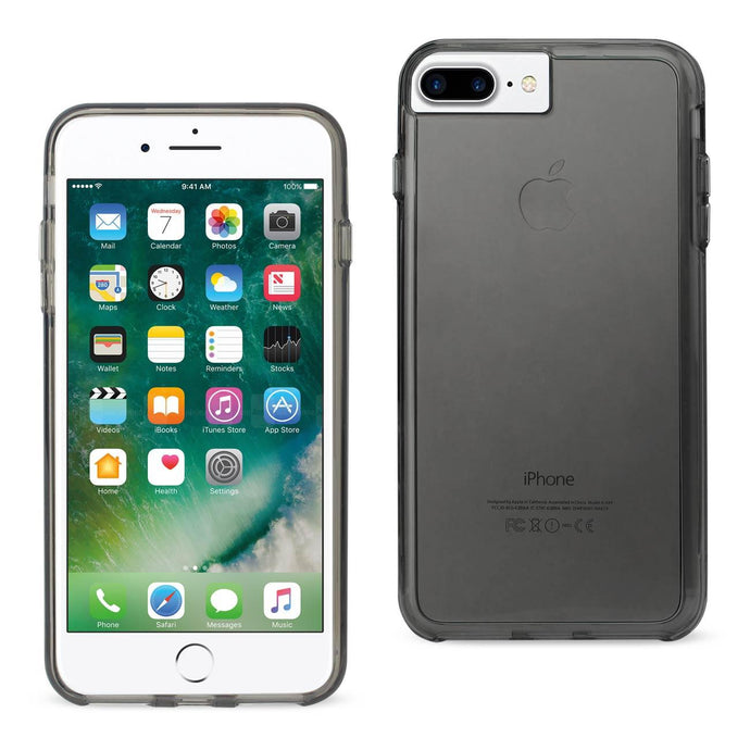 Reiko Iphone 7 Plus Transparent Tpu Hard Protector Cover With Inner Extra Bumper In Clear Gray