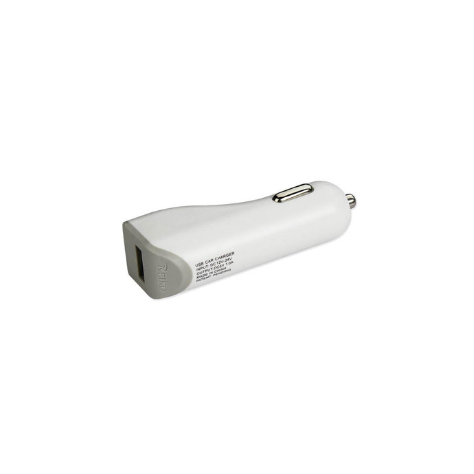Reiko Micro Usb Car Charger With Data Usb Cable In White