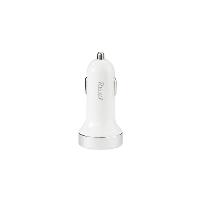 Reiko Dual Port Car Charger With Type C And Usb Type A 2a5v In White