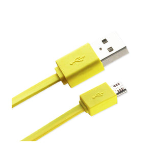 Reiko Tangle Free Micro Usb Data Cable 3.3ft In Yellow