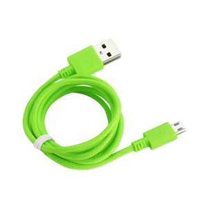 Reiko Braided Micro Usb Data Cable 3.3 Feet In Green