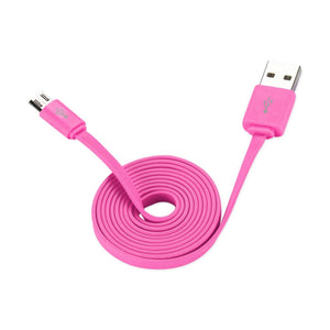 Reiko Flat Micro Usb Data Cable 3.2ft In Pink