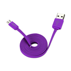 Reiko Flat Micro Usb Data Cable 3.2ft In Purple