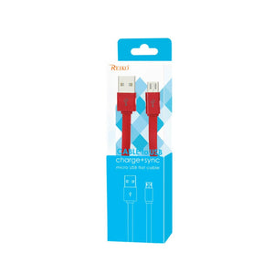 Reiko Flat Micro Usb Data Cable 3.2ft In Red