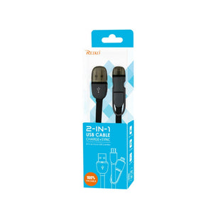Reiko Iphone 6 And Micro Usb Flat Cable 3.2ft 2-in-1 Usb Data In Black