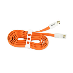 Reiko Flat Micro Usb Gold Plated Data Cable 3.9ft With Cable Tie In Orange