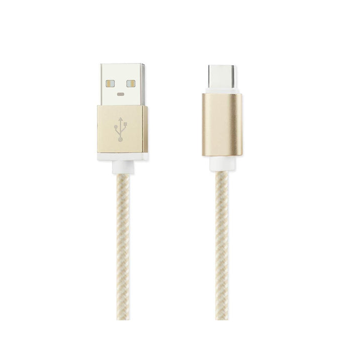 Reiko 3.3ft Nylon Braided Micro Usb 2.0 Charging & Sync Data Cable For Type C Device In Gold