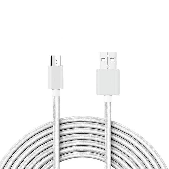 Reiko 3.3ft Metal Connector & Nylon Braided Micro Usb 2.0 Data Cable In Silver