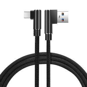 3.3ft Nylon Braided Material Type C Usb 2.0 Data Cable In Black