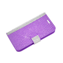 Load image into Gallery viewer, Reiko Zte Overture 2 Jewelry Diamond Rhinestone Wallet Case In Purple