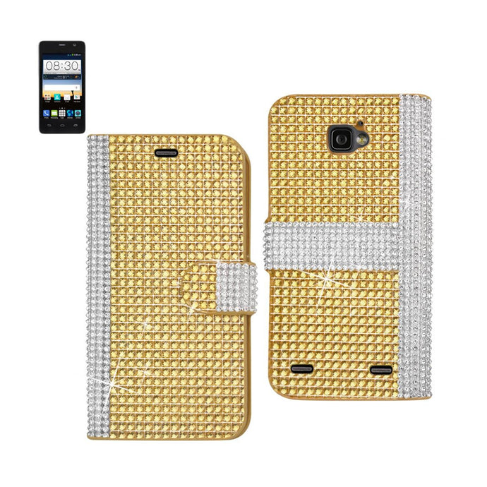 Reiko Zte Sonata 2 Jewelry Diamond Rhinestone Wallet Case In Gold