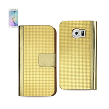 Load image into Gallery viewer, Reiko Samsung Galaxy S6 Edge Gold Chrome Design Wallet Case In Gold