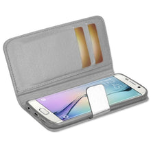 Load image into Gallery viewer, Reiko Samsung Galaxy S6 Edge Gold Chrome Design Wallet Case In Silver