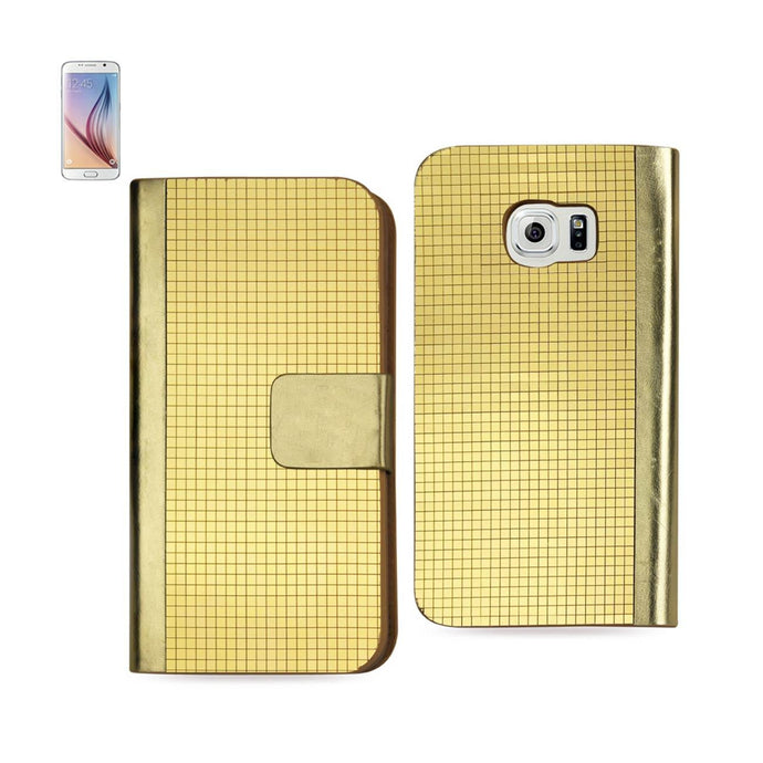 Reiko Samsung Galaxy S6 Gold Chrome Design Wallet Case In Gold