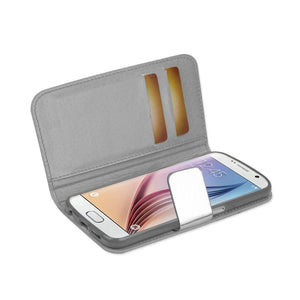 Reiko Samsung Galaxy S6 Gold Chrome Design Wallet Case In Silver