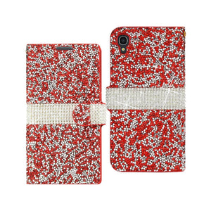 Reiko Alcatel One Touch Idol 3 5.5 Jewelry Rhinestone Wallet Case In Red