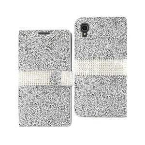 Reiko Alcatel One Touch Idol 3 5.5 Jewelry Rhinestone Wallet Case In Silver