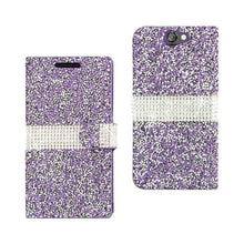 Load image into Gallery viewer, Reiko Htc One A9 Jewelry Rhinestone Wallet Case In Purple