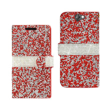 Load image into Gallery viewer, Reiko Htc One A9 Jewelry Rhinestone Wallet Case In Red
